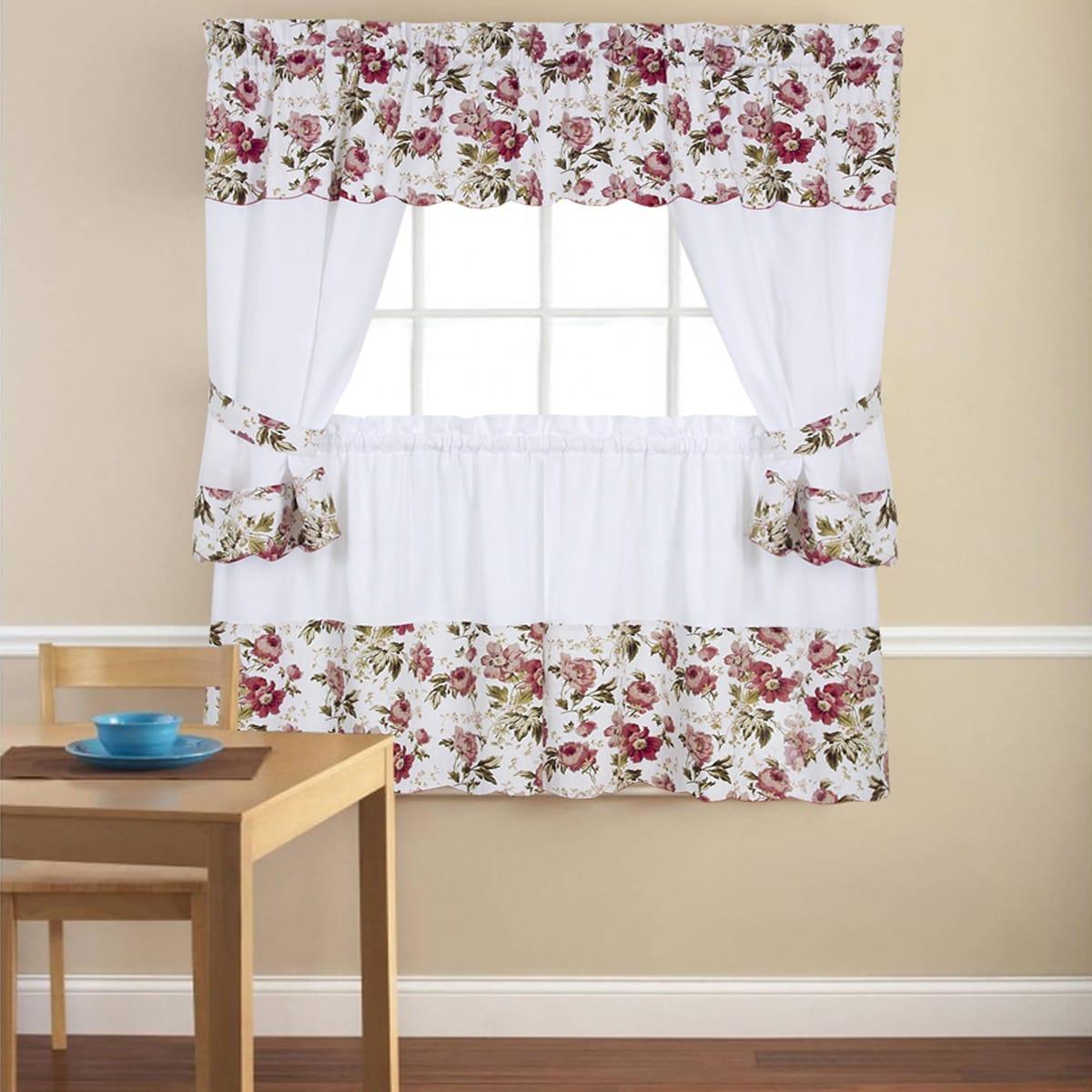 5 Piece Printed Rose Kitchen Curtain Set Overstock 11855640
