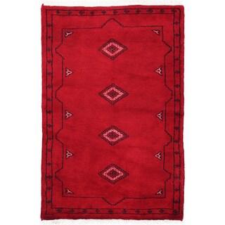 Herat Oriental Pakistani Hand-knotted Bokhara Red/ Ivory Wool Rug (2'6 x 3'9)
