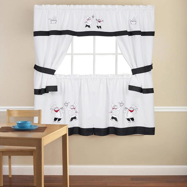 Embroidered Chef Black 5-piece Kitchen Curtain Set