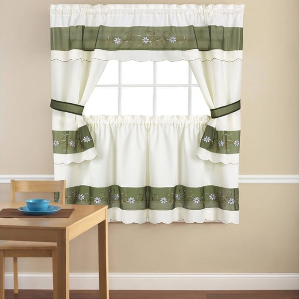 Shop Embroidered Floral 5-piece Kitchen Curtain Set
