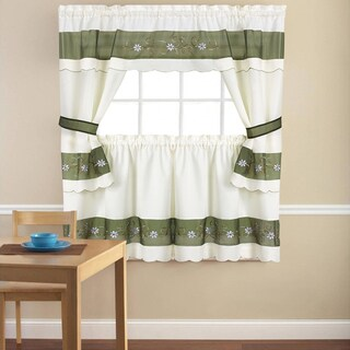 Embroidered Floral 5-piece Kitchen Curtain Set