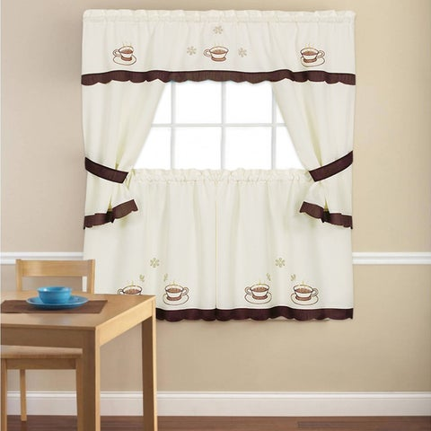 Embroidered 'Coffee Cup' 5-piece Kitchen Curtain Set