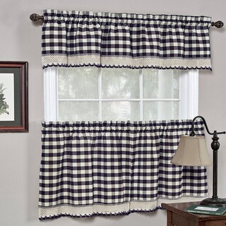 Classic Navy Cotton-blend Buffalo Check Kitchen Curtain Set or Separates
