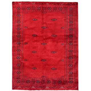 Herat Oriental Pakistani Hand-knotted Bokhara Red/ Burgundy Wool Rug (4'8 x 6'3)