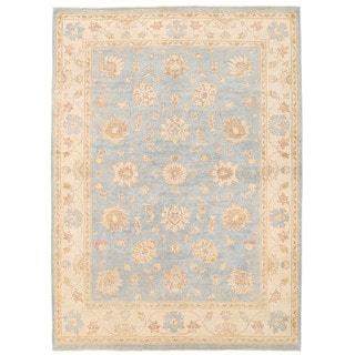 Herat Oriental Afghan Hand-knotted Super Kazak Light Blue/ Ivory Wool Rug (5' x 6'11)