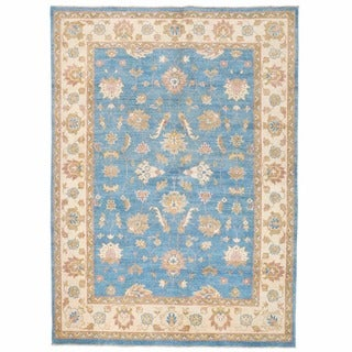 Herat Oriental Afghan Hand-knotted Super Kazak Blue/ Ivory Wool Rug (4'11 x 6'10)