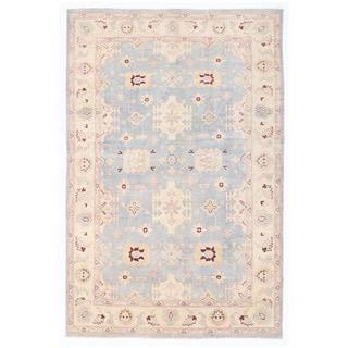 Herat Oriental Afghan Hand-knotted Super Kazak Light Blue/ Ivory Wool Rug (5'11 x 9')