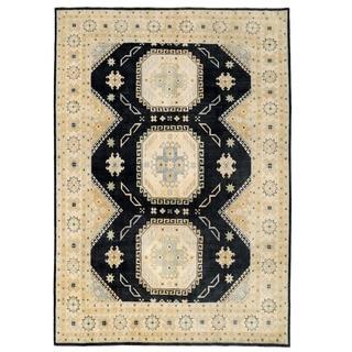 Herat Oriental Afghan Hand-knotted Super Kazak Black/ Ivory Wool Rug (8'10 x 12'5)