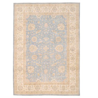 Herat Oriental Afghan Hand-knotted Super Kazak Light Blue/ Ivory Wool Rug (9'10 x 14'1)