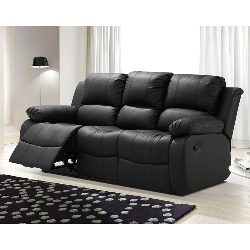 Madison Bonded Leather Modern Reclining Sofa with Drop-down Tea Table
