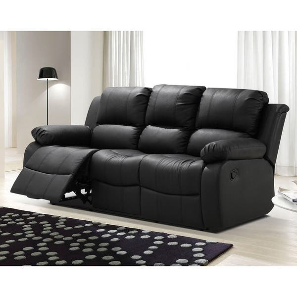 Shop Madison Bonded Leather Modern Reclining Sofa with Drop ...