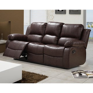Madison Bonded Leather Modern Reclining Sofa With Drop Down Tea Table