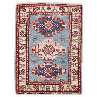 Herat Oriental Afghan Hand-knotted Kazak Light Blue/ Ivory Wool Rug (2'2 x 2'11)