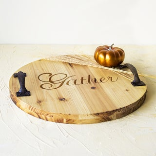 Rustic 'Gather' Brown Wood Tray with Metal Handles
