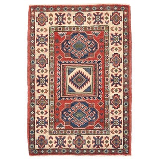 Herat Oriental Afghan Hand-knotted Kazak Red/ Ivory Wool Rug (2' x 3')