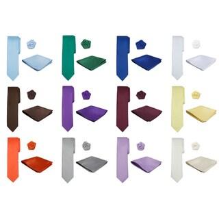 Jacob Alexander Boys Microfiber Tie Pocket Square and Lapel Flower 3-piece Pack