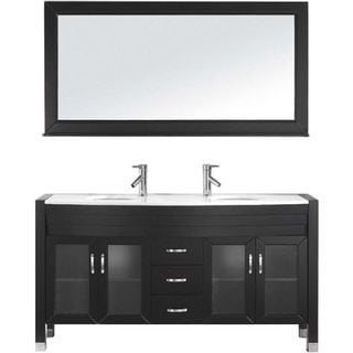 Virtu USA Ava 63-inch Stone Top Double Bathroom Vanity Set