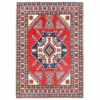 Herat Oriental Afghan Hand-knotted Kazak Red/ Ivory Wool Rug (4'4 x 6'1)