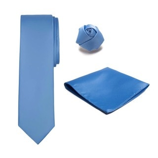 Boys Accessory Kit - 3 Piece Set, Tie, Hanky, Rose Lapel Flower