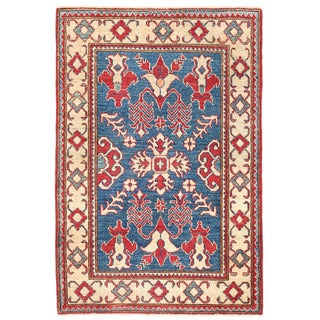 Herat Oriental Afghan Hand-knotted Kazak Blue/ Ivory Wool Rug (3'3 x 4'11)