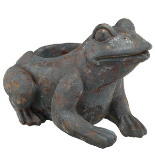 Black and Brown Resin 20-inch x 16-inch x 14-inch Rustic Frog Planter