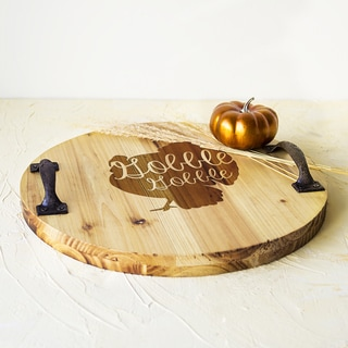 Engraved Turkey Wood Tray With Metal Handles