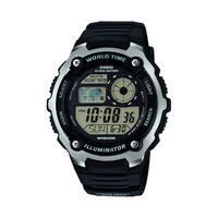 Casio Mens Silver Tone Black Multifunction Watch