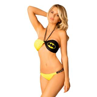 Women's Batman Twist Yellow/Black Lycra Bandeau Bikini