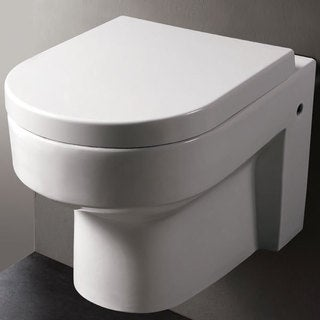EAGO WD101 White Porcelain Round Modern One-piece Wall-mount Dual Flush Toilet