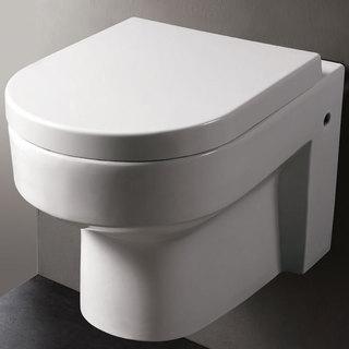EAGO WD101 White Porcelain Round Modern One-piece Wall-mount Dual Flush Toilet