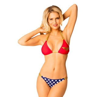 Women's Wonder Woman Red Lycra Chain Triangle Bikini