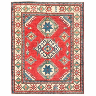Handmade One-of-a-Kind Kazak Wool Runner (Afghanistan) - 4'9 x 5'10