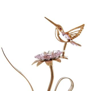 24k Goldplated Matshi Crystal Beautifully Crafted Hummingbird with Flower Tabletop Ornament (2 Colors Available)