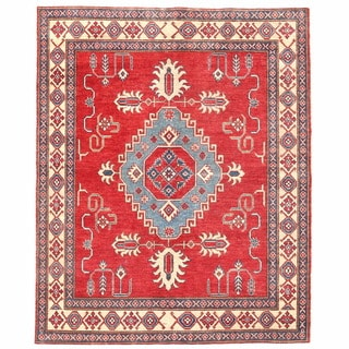 Herat Oriental Afghan Hand-knotted Kazak Red/ Ivory Wool Rug (5'3 x 6'7)