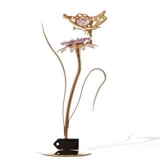 Mataschi 24k Dipped Crystal Crafted Butterfly with Flower Table Top Ornament