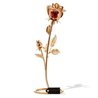 Beautifully Crafted 24k Goldplating-dipped Genuine Red Matashi Crystals Rose Table-top Ornament