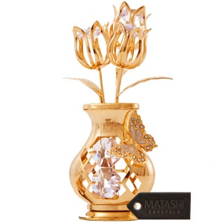 Goldplated Matashi Crystal Tulips with Butterfly in a Vase Tabletop Ornament (2 Color Choices)