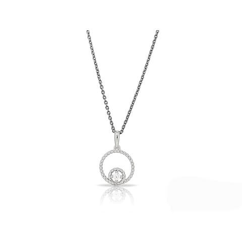 Kabella Sterling Silver Cubic Zirconia Double Circle Design Pendant