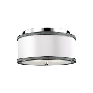Feiss Pave 2 Light Polished Nickel Flushmount