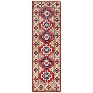 Herat Oriental Afghan Hand-knotted Kazak Red/ Ivory Wool Runner (1'11 x 6')