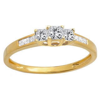 Elora 10k Yellow Gold 1/2ct TDW Princess-cut Diamond 3-stone Bridal Engagement Ring (I-J, I1-I2)