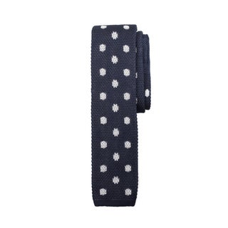 Navy and White Silk Patterned Flat Knit Tie