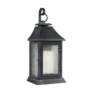 Feiss 1 - Light Outdoor Sconce, Dark Weathered Zinc