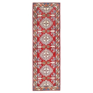 Herat Oriental Afghan Hand-knotted Kazak Red/ Blue Wool Runner (1'11 x 6'4)