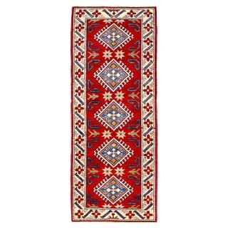 Herat Oriental Afghan Hand-knotted Kazak Red/ Ivory Wool Rug (2'4 x 5'9)