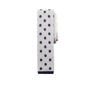 Flat Knit Silk White Tie With Navy Dot and Star Pattern