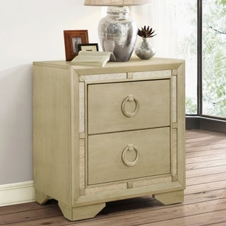 Abbyson Valentino Mirrored 2-Drawer Nightstand