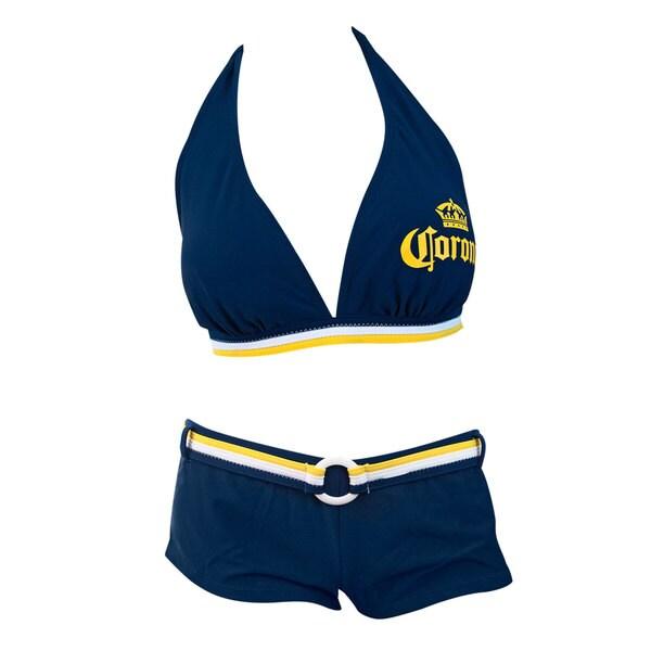 d87325a43993c Shop Corona Extra Women s Blue Lycra Push-up Halter Boy-short Banded Bikini  - Free Shipping Today - Overstock - 11856028