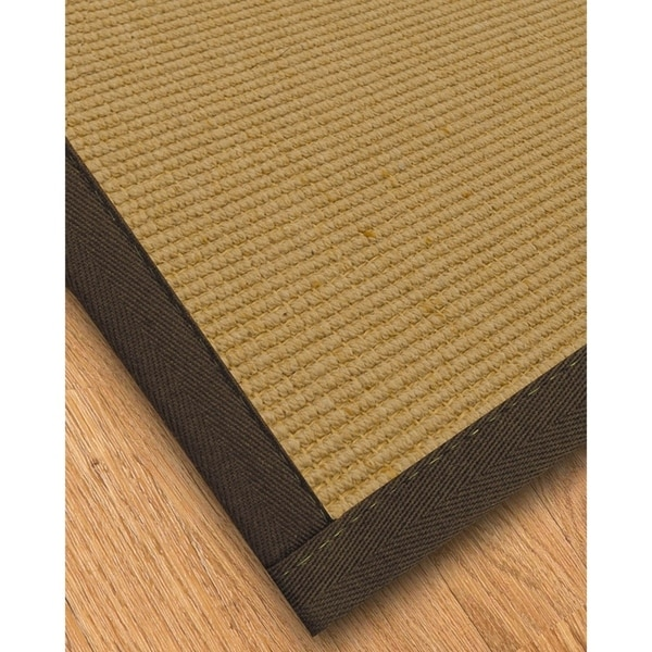Handcrafted Victoria Natural Sisal Runner Rug with Light Brown Binding