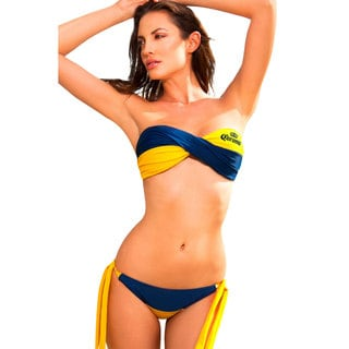 Corona Blue and Yellow Twist Bandeau Bikini Set